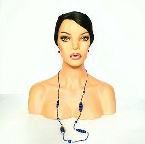 Blue & Black Fun Necklace & Earrings
